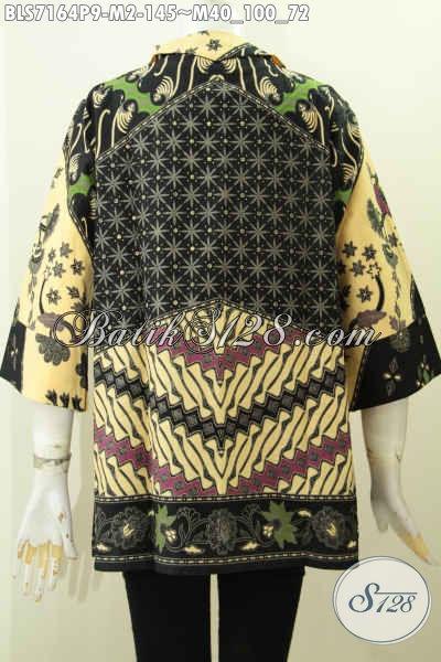 Batik Blus Kerah Langsung, Busana Bati Saku Kanan Kiri, Baju Batik Kerja Wanita Karir Kantoran Harga 145K Bahan Halus Motif Proses Printing [BLS7164P-M]