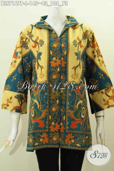 Baju Batik Wanita Cantik, Pakaian Batik Kerah Langsung Kwalitas Istimewa Untuk Kerja Dan Santai Di Lengkapi Saku Kanan Kiri, Tampil Modis Dan Istimewa [BLS7167P-L]