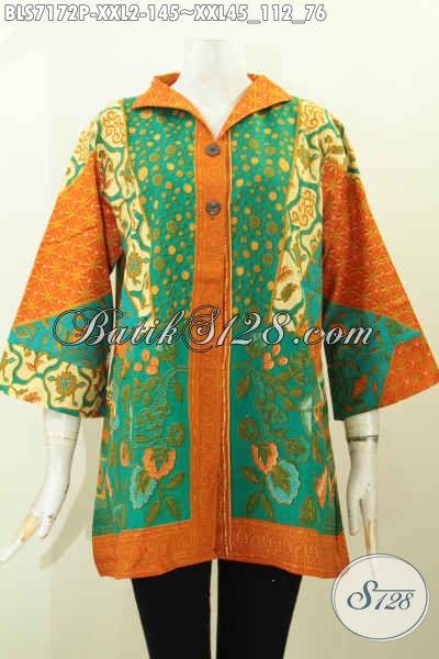 Baju Batik Modern Dengan Sentuhan Motif Klasik Nan Berkelas Spesial Untuk Wanita Gemuk Terlihat Gaya Dan Mempesona [BLS7172P-XXL]