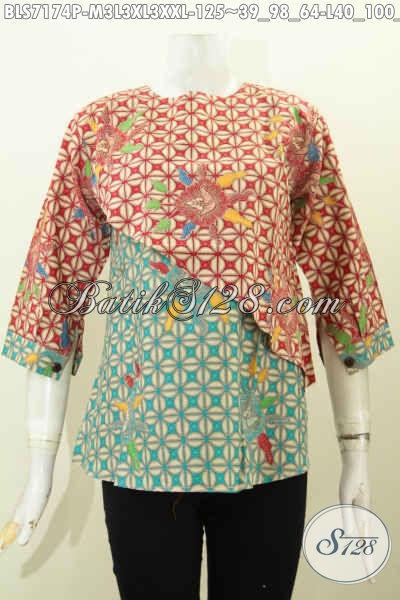 Baju Batik Santai Model Potongan Miring Trend Masa Kini, Blus Batik Warna Kombinasi Motif Unik Proses Printing Harga 125K [BLS7174P-M, XL]