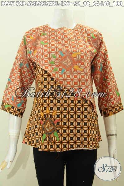 Produk Pakaian Batik Solo Jawa Tengah, Blus Batik Potongan Miring Berpadu Warna Kombinasi Nan Modis Bahan Halus, Cocok Untuk Hangout [BLS7176P-M , L , XL]