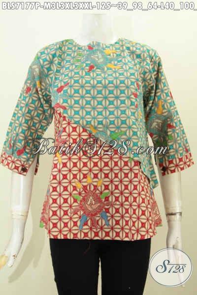 Baju Blus Wanita Untuk Tampil Beda Dan Gaya Dengan Desain Potongan Miring Warna Kombinasi Lengan Berkancing Harga 125K, Asli Buatan Solo [BLS7177P-L , XL]