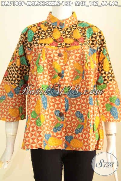 Olshop Baju Batik Wanita, Sedia Blus Kerah Shanghai Motif Terbaru Lebih Berkelas Proses Printing Harga 130K, Size M – L – XL – XXL