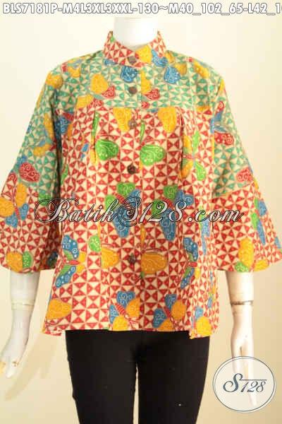 Baju Blus Batik Halus Dan Keren, Busana Batik Dual Warna Motif Trendy Printing Nan Modis Dengan Kerah Shanghai, Pas Untuk Seragam Kerja [BLS7181P-M , L , XL , XXL]
