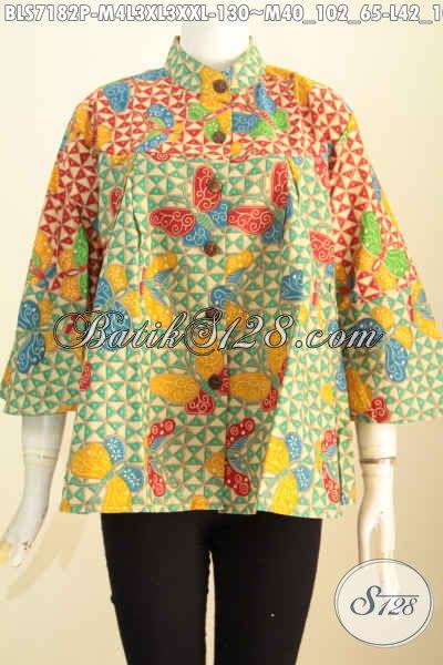 Blus Batik Fashion Motif Modern Trend Masa Kini, Baju Batik Printing Kerah Shanghai Kombinasi 2 Warna, Bisa Untuk Santai Dan Formal [BLS7182P-M , L , XL]