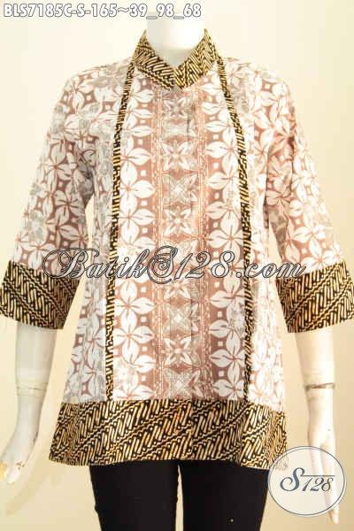 Batik Blus Istimewa Desain Keren Abis, Berbahan Halus Dengan Kerah Shanghai Kancing Depan Sampai Bawah, Penampilan Lebih Trendy [BLS7185C-S]