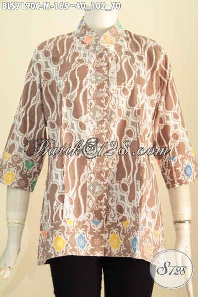 Sedia Model Baju Batik Kerja Wanita Terkini, Blus Batik Solo Kerah Shanghai Plisir Modis Buat Ke Kantora Dan Rapat Tampil Terlihat Beda [BLS7190C-M]