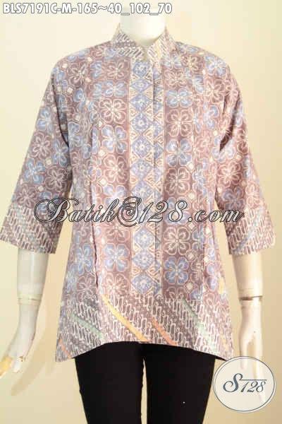 Batik Blus Keren, Busana Kerja Bahan Batik Model Kerah Shanghai Plisir Kwalitas Bahan Bagus Harga Terjangkau, Size M
