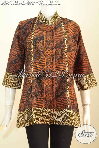 Baju Blus Motif Klasik Batik Cap, Busana Batik Elegan Desain Keren Kerah Shanghai Plisir Kancing Depan Sampai Bawah Harga 165K [BLS7192C-M]