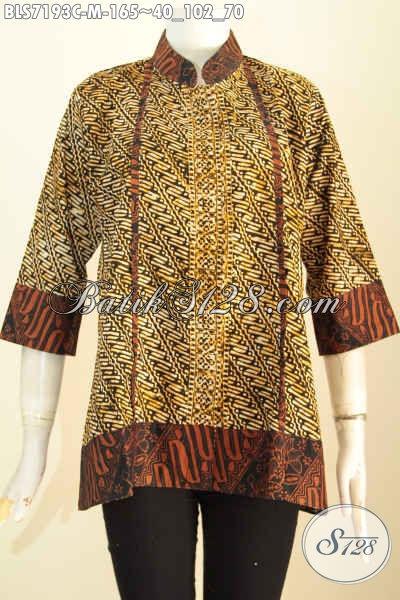 Jual Model Baju Batik Wanita Muda, Pakaian Batik Keren Motif Klasik Bahan Halus Dengan Kerah Shanghai Dan Kancing Depan Sampai Bawah, Cocok Juga Untuk Kondangan [BLS7193C-M]