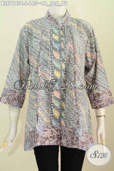 Batik Blus Trendy, Busana Batik Keren Pakai Kancing Atas Sampai Bawah Model Kerah Shanghai Plisir Motif Proses Cap, Size L