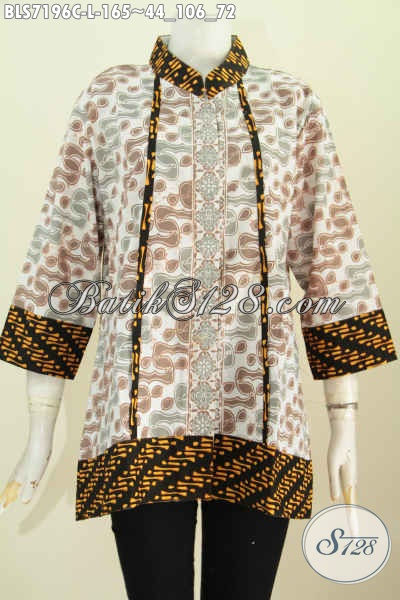 Jual Batik Blus Masa Kini, Produk Pakaian Batik Terbaru Yang Membuat Wanita Terlihat Cantik Mempesona Dengan Kerha Shanghai Plisir Nan Istimewa Motif Proses Cap [BLS7196C-L]