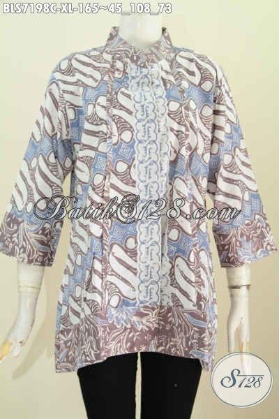 Model Baju Batik Perempuan Yang Bagus, Pakaian Batik Wanita Dewasa Kerah Shanghai Plisir Motif Klasik Proses Cap, Di Jual Online 165K [BLS7198C-XL]
