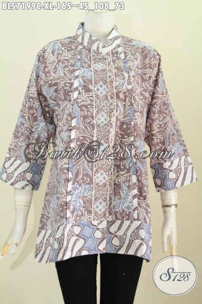 Model Baju Batik Seragam Kerja Wanita Dewasa, Pakaian Blus Kerah Shanghai Plisir Nan Elegan Di Lengkapi Kancing Depan Sampai Bawah Harga 165K Motif Proses Cap [BLS7199C-XL]