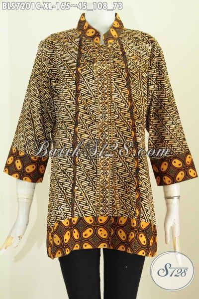 Baju Batik Klasik Wanita Dewasa, Blus Batik Elegan Kerah Shanghai Plisir Kwalitas Bagus Untuk Kerja Dan Acara Resmi Lainnya Harga 165K [BLS7201C-XL]