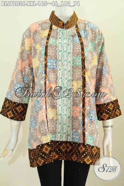 Baju Blus Solo Jawa Tengah, Pakaian Batik Modern Masa Kini, Busana Batik Kerah Shanghai Plisir Big Size Dengan Kancing Depan Sampai Bawah Motif Klasik Proses Cap [BLS7203C-XXL]