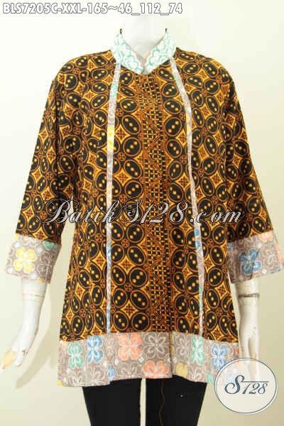 Produk Baju Batik Blus Klasik 3L, Busana Batik Wanita Gemuk Big Size Yang Menunjang Penampilan Lebih Sempurna [BLS7205C-XXL]