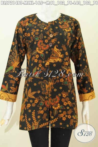 Batik Blus Elegan Motif Mewah Kombinasi Tulis, Pakaian Batik Istmewa Bikin Wanita Tampil Modis Dan Mempesona Harga 170K, Desain Tanpa Krah Pakai Ofneisel [BLS7214BT-XL]
