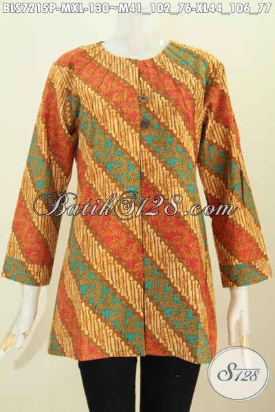 Sedia Batik Bus ELegan Motif KLasik, Baju Batik Parang Printing Desain Trendy Tanpa Kerah Wanita Terlihat Anggun [BLS7215P-XL]
