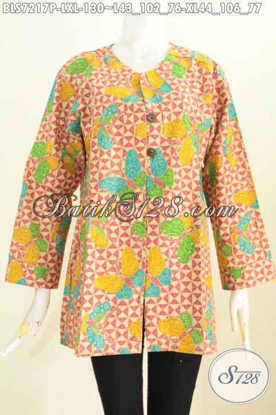 Produk Baju Batik Santai, Busana Tanpa Krah Dilengkapi Ofneisel Untuk Penampilan Lebih Modis Hanya 130K [BLS7217P-L]