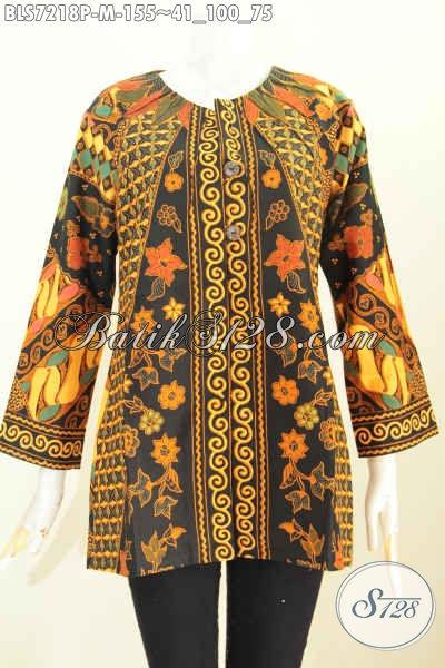 Baju Blus Elegan Motif Klasik Desain Tanpa Krah Kwalitas Istimewa Bahan Adem Proses Printing Pakai Ofneisel [BLS7218P-M]