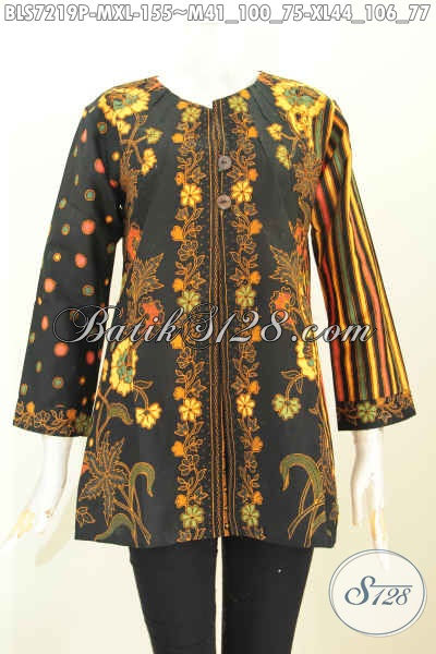 Baju Batik Kerja Motif Kombinasi, Pakaian Batik Klasik Wanita Nan Elegan Tanpa Krah, Cocok Juag Buat Acara Resmi [BLS7219P-XL]