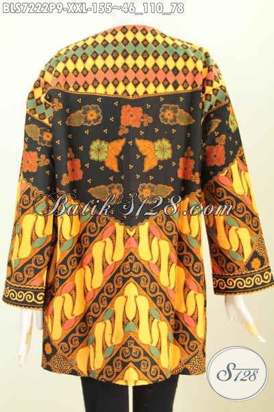 Batik Blus Wanita Nan Istimewa, Blus Tanpa Krah Bahan Halus Proses Printing Motif Klasik, Pas Untuk Acara Resmi, Size XXL