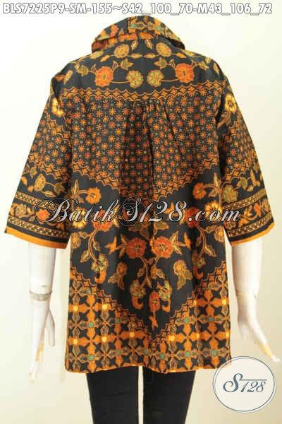 Baju Batik Kerja Kerah Bulat, Busana Batik Printing Halus Istimewa Buatan Solo Untuk Motif Bagus Harga 155K [BLS7225P-M]