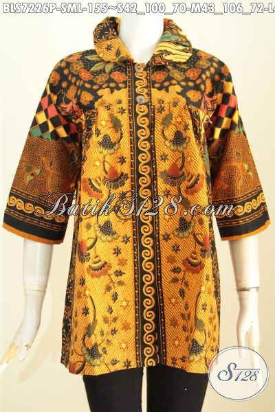 Baju Blus Modern Klasik Desain Kerah Bulat Nan Istimewa, Pakaian Batik Solo Untuk Wanita Terlihat Gaya Dan Keren [BLS7226P-L]