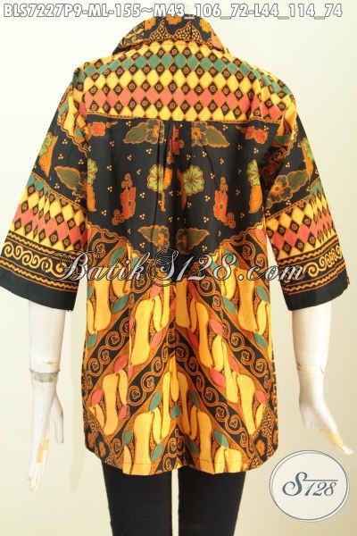 Batik Blus Solo Klasik Nan Mewah Harga Murah, Baju Batik Solo Masa Kini Desain Kerah Bulat Pilihan Tepat Tampil Menawan [BLS7227P-L]