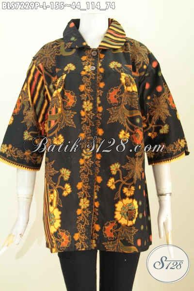 Jual Baju Batik Kerja Wanita 2019, Blus Batik Elegan Berkelas Motif Bagus Proses Printing Desain Kera Bulat Hanya 155K [BLS7229P-L]