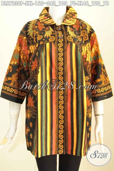 Batik Blus Keren Dengan Sentuhan Klasik, Pakaian Batik Istimewa Bautan Solo Kerah Bulat Tampil Lebih Modis [BLS7230P-S]