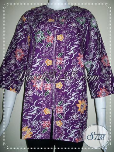 BAtik Warna Ungu Untuk Wanita Elegan Yang Trendy [BLS724C-XL]