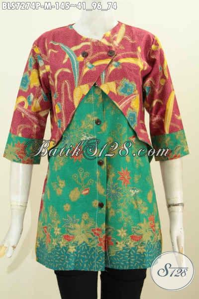 Baju Blus Kombinasi Rompi Sambung, Baju Batik Wanita Terkini Yang Bikin Penampilan Lebih Istimewa, Size M