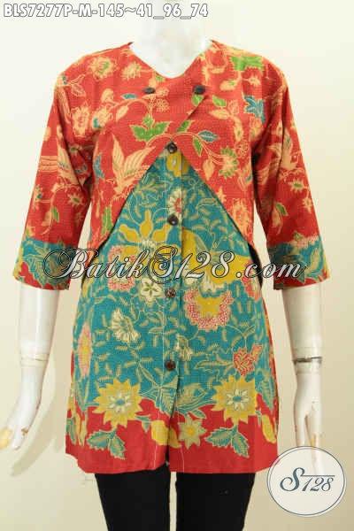 Trend Busana Batik Wanita 2019, Blus Batik Kombinasi Rompi Sambung 2 Warna Motif Bunga Proses Printing 145K [BLS7277P-M]
