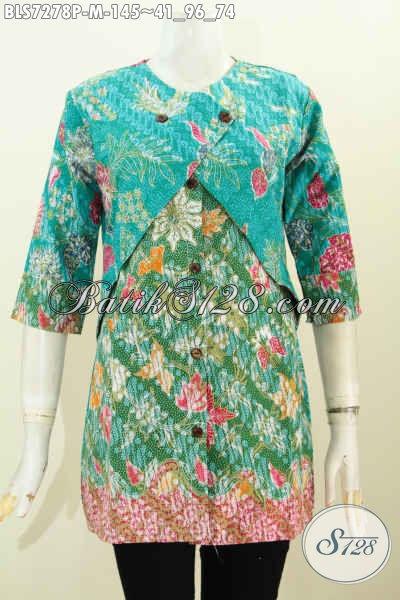 Pakaian Batik Elegan Dan Mewah Harga Murah, Blus Kombinasi Rompi Sambung Bahan Halus Motif Terkini Proses Printing Untuk Wanita Muda Kantoran [BLS7278P-M]