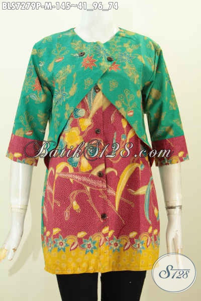 Batik Blus Keren Terbaru, Busana Batik Kerja Wanita Muda Desain Kombinasi Rompi Sambung Untuk Tampil Trendy Dan Cantik, Size M