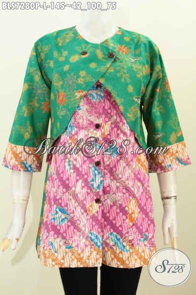 Batik Blus Printng Keren Dan Modis, Baju Batik Wanita Kerja Masa Kini Kombinasi Rompi Sambung Harga 145K, Size L