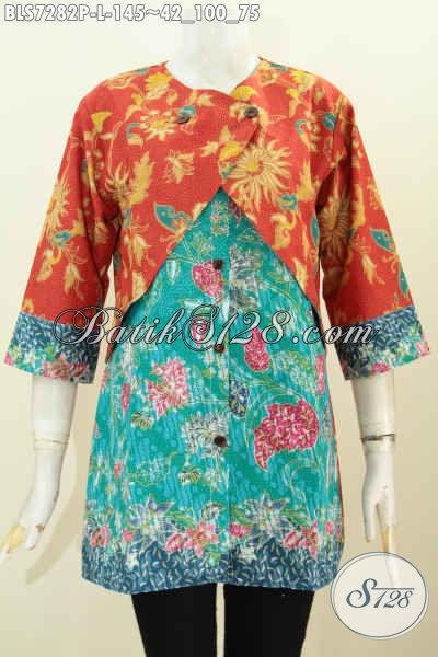 Sedia Pakaian Batik Wanita Terkini, Blus Kerja Modern Kombinasi Rompi Sambung Motif Bunga Proses Printing, Tampil Anggun Menawan [BLS7282P-L]