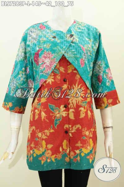 Batik Blus Desain Kombinasi Rompi Sambung, Busana Batik Istimewa Proses Printing Motif Bunga, Menunjang Penampilan Makin Sempurna [BLS7283P-L]