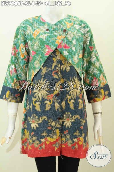 Batik Blus Solo Modern, Pakaian Batik Kerja Wanita Karir Bahan Halus Model Kombinasi Rompi Sambung Berpdau Motif Bunga, Penampilan Lebih Feminim [BLS7286P-XL]