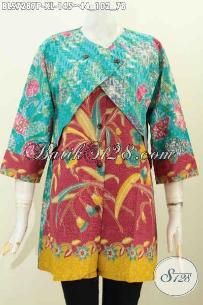 Contoh model baju batik kombinasi bolero