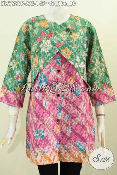 Sedia Baju Batik Solo Masa Kini, Blus Batik Modern Keren Kombinasi Rompi Sambung Bahan Halus Trend Motif 2017 Harga 145K, Size XXL