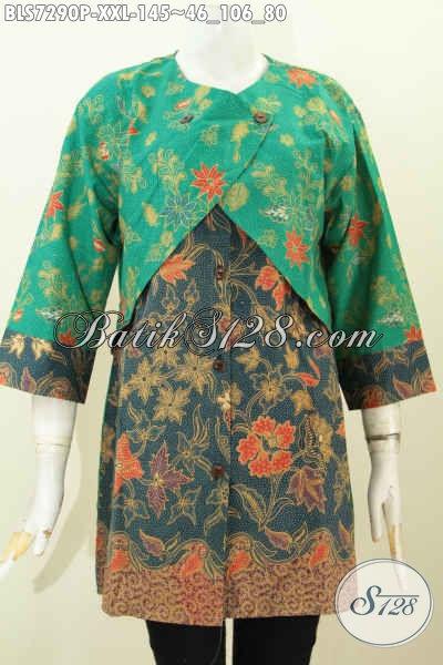 Blus Batik Size XXL, Busana Batik Keren Dan Modis Kombinasi Rompi Sambung Buatan Solo Motif Bunga Proses Printing Harga 145K Buat Wanita Gemuk [BLS7290P-XXL]