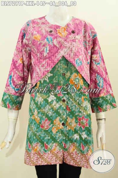 Baju Batik 2 Warna, Pakaian Batik Motif Keren Proses Printing Desain Kombinasi Rompi Sambung Trend Mode Pakaian Wanita Gemuk 2017, Size XXL