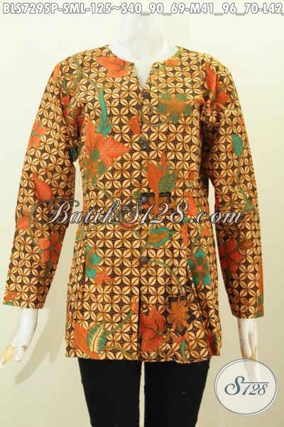 Baju Batik Kerja Wanita Murah, Blus Model Mekar Bawah Kwalitas Bagus Motif Elegan Proses Printing, Tampil Lebih Mempesona [BLS7295P-S , M]