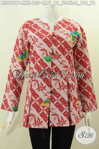 Baju Blus Model Terbaru 2017, Busana Batik Elegan Mekar Bawah Untuk Wanita Karir Muda Dan Dewasa, Size M – XL