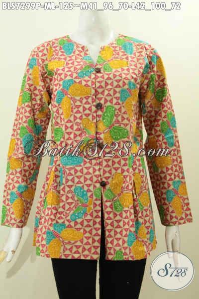Baju Batik Kerja Wanita Buatan Solo, Blus Mekar Bawah Motif Mewah Proses Printing, Di Jual Online Harga 125K [BLS7299P-M , L]