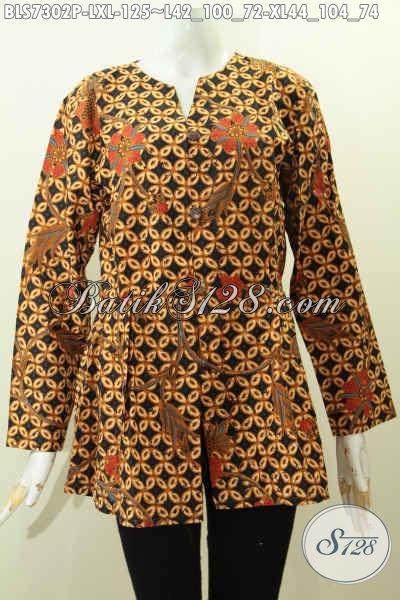 Blus Batik Kerja Wanita Masa Kini, Baju Batik Perempuan Karir Nan Elegan Mekar Bawah Motif Klasik Printing Hanya 100 Ribuan [BLS7302P-L , XL]