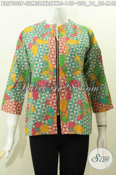 Batik Blus Solo Trendy Pakai Resleting Depan Dengan Kombinasi 2 Warna Proses Printing, Bikin Para Wanita Tampil Mempesona Hanya 140K [BLS7303P-M , L , XXL]